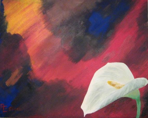 2012-05 Acryl auf Leinwandkarton 50x40 -WeißeCalla