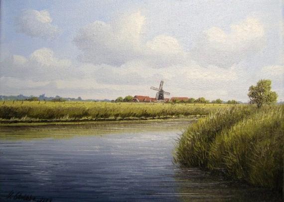 Landschaft bei Neuharlingersiel-Öl auf Leinen