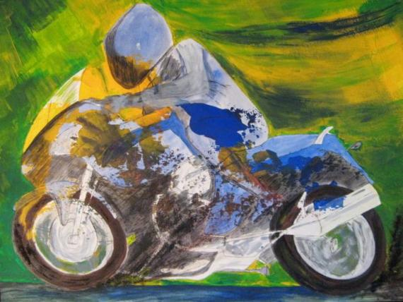 2012-05 Acryl und Tinte auf Aquarellpapier 48x36  -Monotypieradfahrer