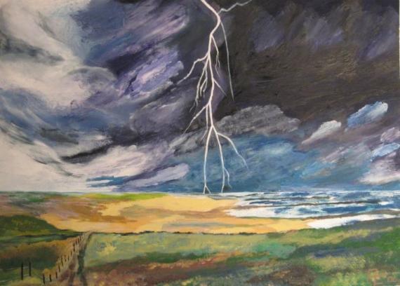 2012-06 Acryl auf Aquarellpapier 48x36 -GewitterInTrans