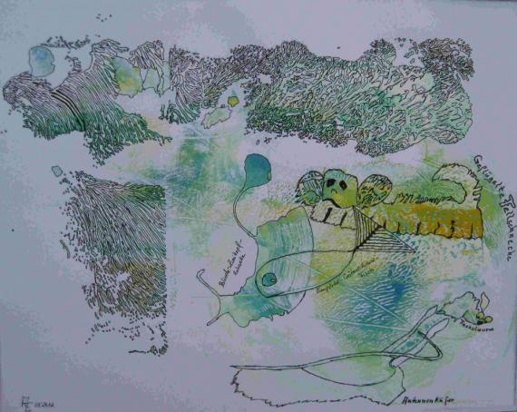 2012-08 Acryl und Tinte auf Zeichenpapier 30x40 Zeichentierkreis