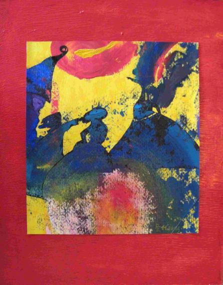 2012-11 Acryl auf Aquarellpapier und Spanplatte 39x49 -Feuertänzer