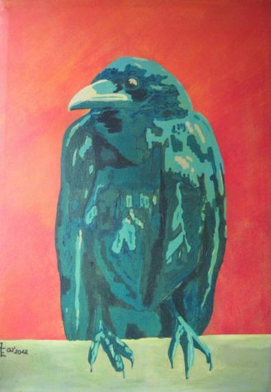 2014-01 Acryl auf Leinwand 45x65 -Rabe