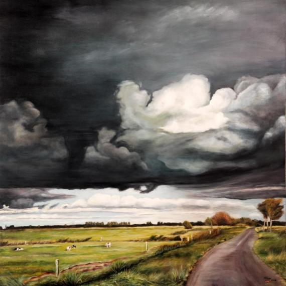 Kumuluswolken über den Veenhuser Hammrich, Oel auf Leinwand 80X80 cm