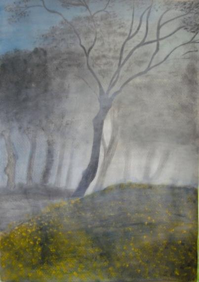 Im Nebel 50x70 Acryl auf Aquarellpapier 2012