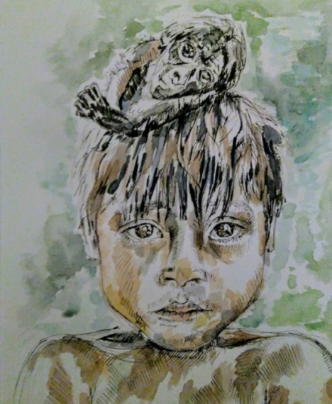 Monkeys are great -jungle -young boy