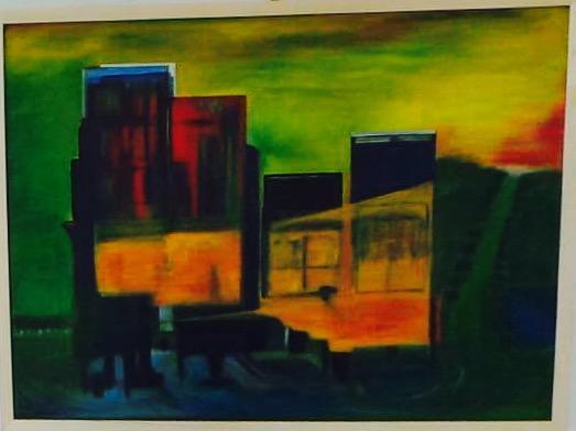 2016 City Blues 80x60 Acryl auf Leinwand Helma Bittner