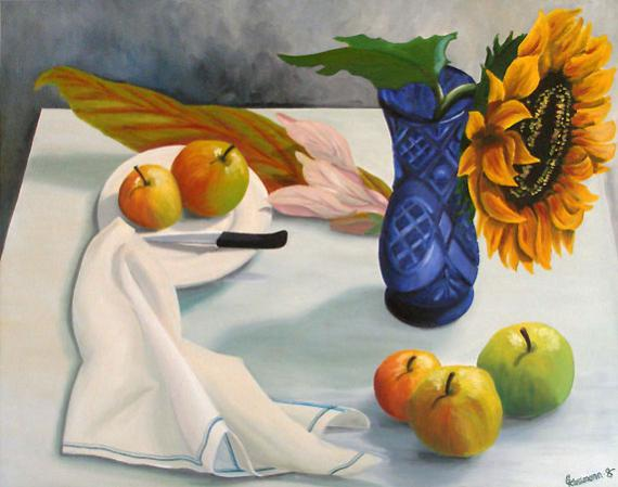 Blaue Vase mit Sonnenblume, Öl