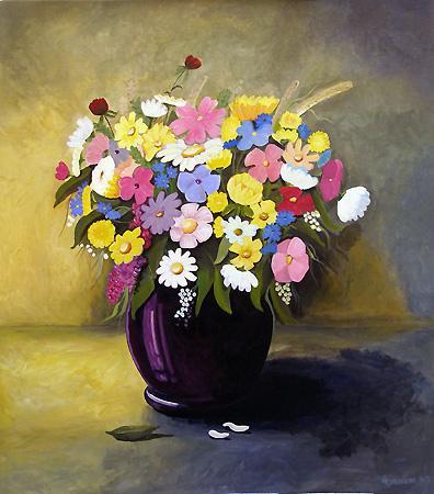 Bunter Blumenstraß, Acrylmalerei