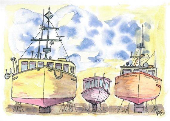 Drei Boote Trockendock- katinkaart by Katja Timme