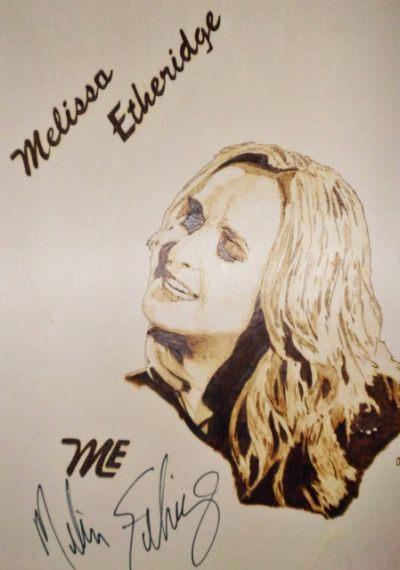 Melissa Etheridge, 2015, auf Sperrholz gebrannt