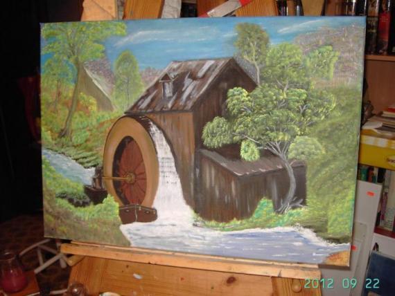 Hut met wasserrad, huisje met waterrad, Henk Doorenbosch | HEDOBOS-ART