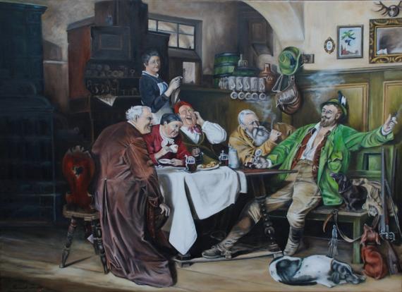 """Das Bild """"Jägerlatein"""" gemalt von Eduard Grützner 1873 hat mich immer faziniert. Zufällig kam ich an das Bild in Postkartengrösse. Ich konnte es abmalen und meinen Traum erfüllen."""