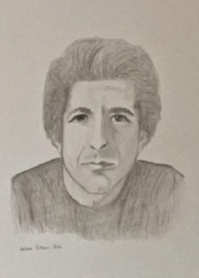 Leonard Cohen 2016 Kohle auf Zeichenpapier 30x40 Helma Bittner