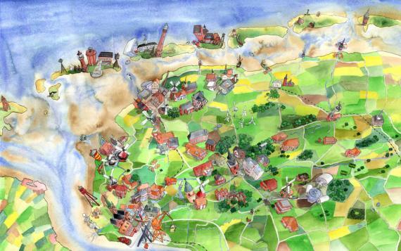 Ostfriesland-Panoramazeichnung für die Sparkasse Aurich-Norden