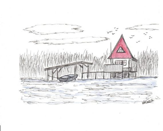 Red house on the river- katinkaart by Katja Timme