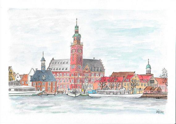 Stadtansicht Hafen leer- katinkaart by Katja Timme