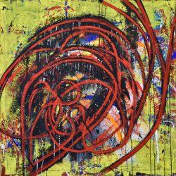 ohne Titel, 2019, Mischtechnik auf Baumwolle, 100 x 100 cm, Inv. Nr. Mt087